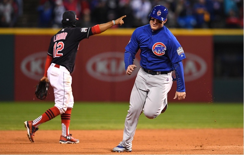 CLEVELAND, OH - OCTOBER 26: Anthony Rizzo #44 of the Chicago Cubs runs on his way to scoring after Ben Zobrist #18 (not pictured) hit an RBI triple during the fifth inning against the Cleveland Indians in Game Two of the 2016 World Series at Progressive Field on October 26, 2016 in Cleveland, Ohio.