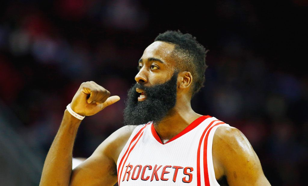 James Harden of the Houston Rockets signals to a teammate.