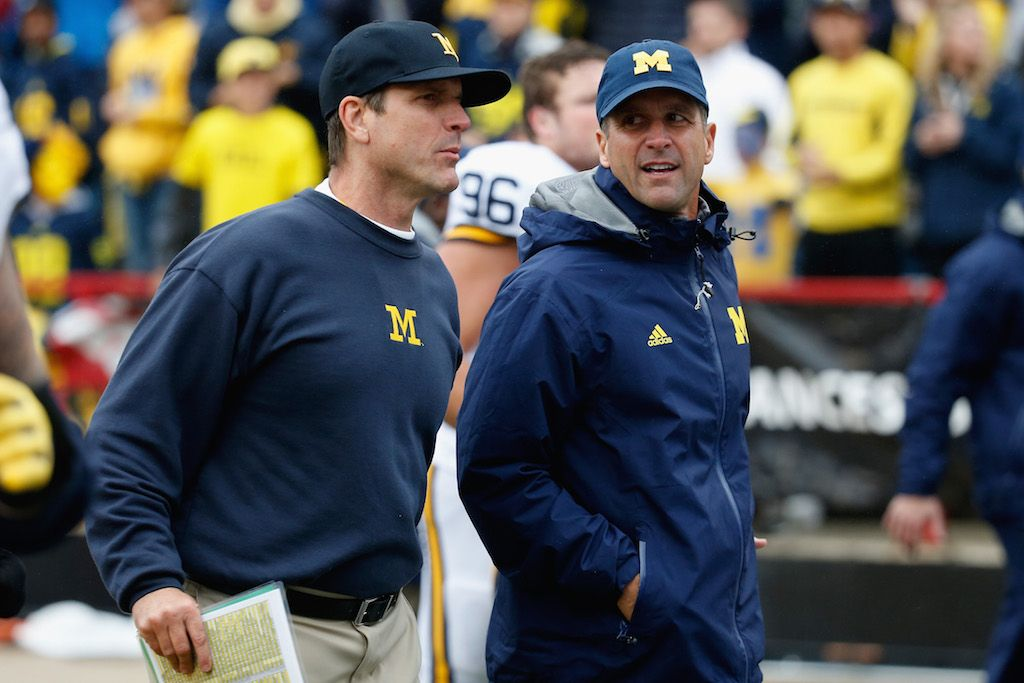 The Harbaugh brothers discuss the Wolverines' game plan.