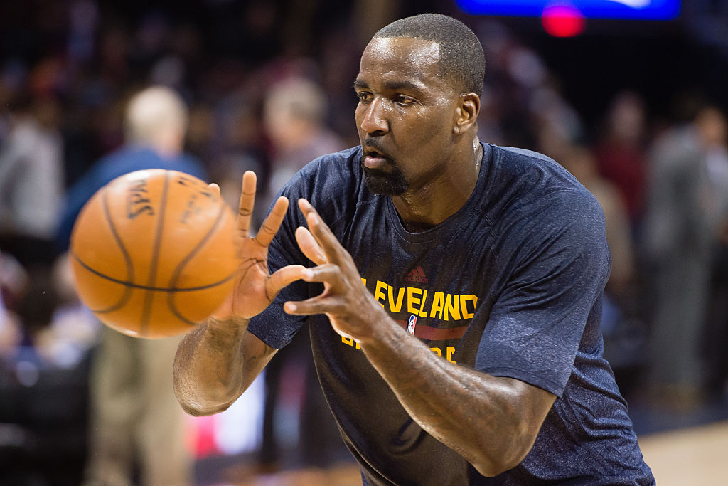 Kendrick Perkins of the Cleveland Cavaliers grabs the ball during warmups.