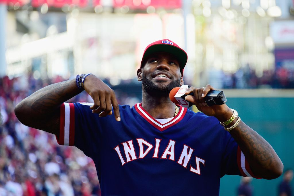 LeBron James talks during an Indians game.