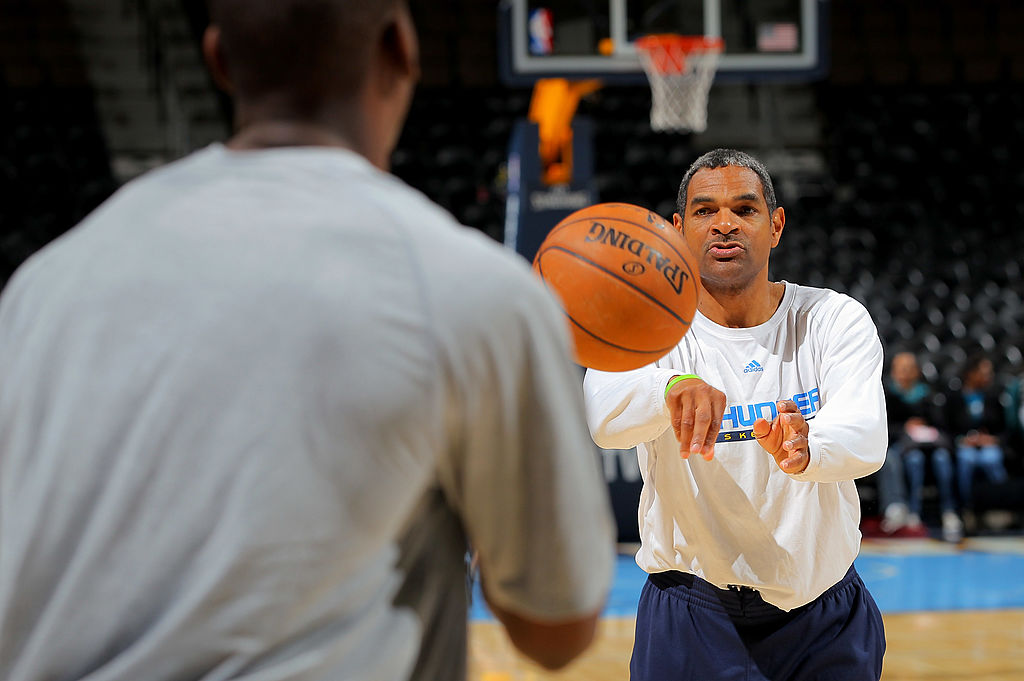 Assistant coach Maurice Cheeks of the Oklahoma City Thunder warms up.