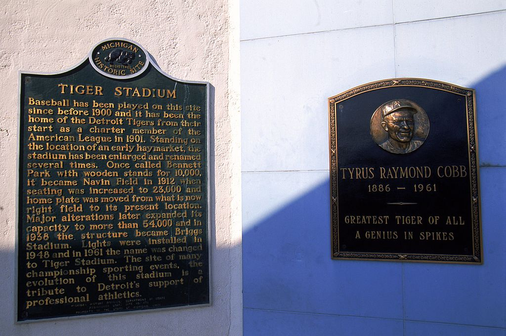 A view of the Tiger Stadium with Tyrus Raymond Cobb plaque