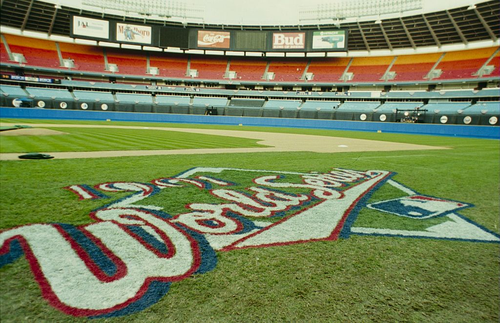 A general view of Fulton County Stadium and the World Series Logo taken before the 1991 World Series