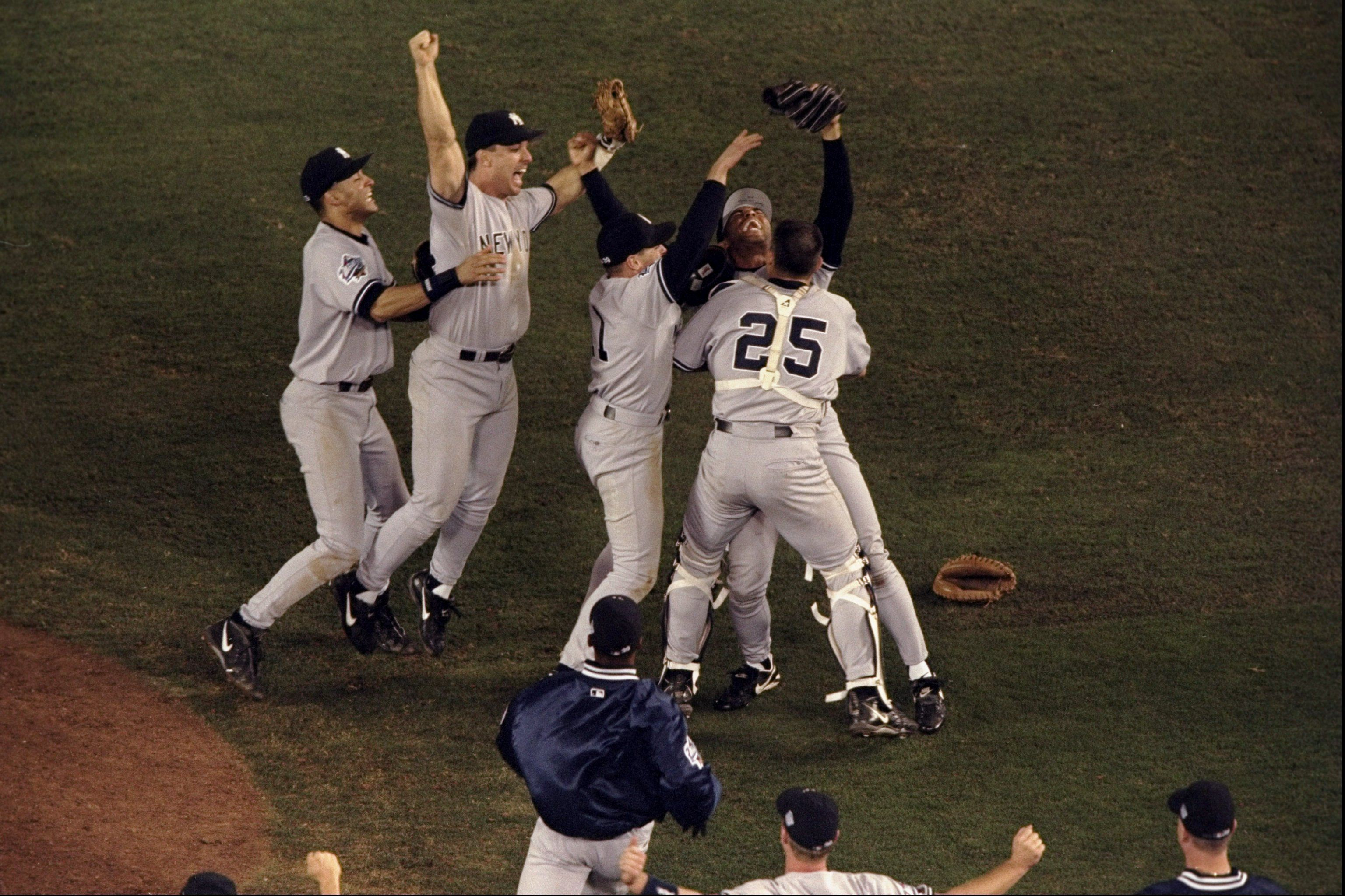 General view of the New York Yankees in celebration following the 1998 World Series Game 4 against the San Diego
