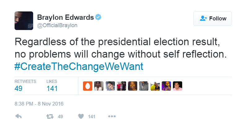 Braylon Edwards tweeted a message about chance during the 2016 presidential election.