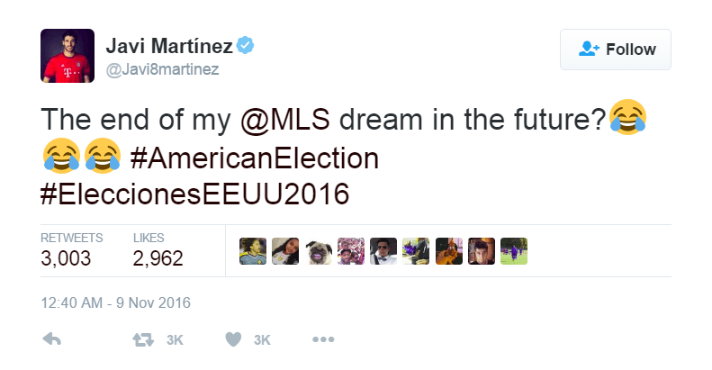 Javi Martinez comments on the 2016 Presidential Election results on Twitter.