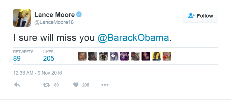 Lance Moore shared a message for President Barack Obama following the 2016 Presidential Election results