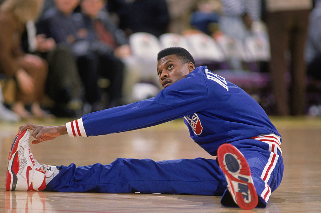 Dennis Hopson stretches before a game against the Los Angeles Lakers