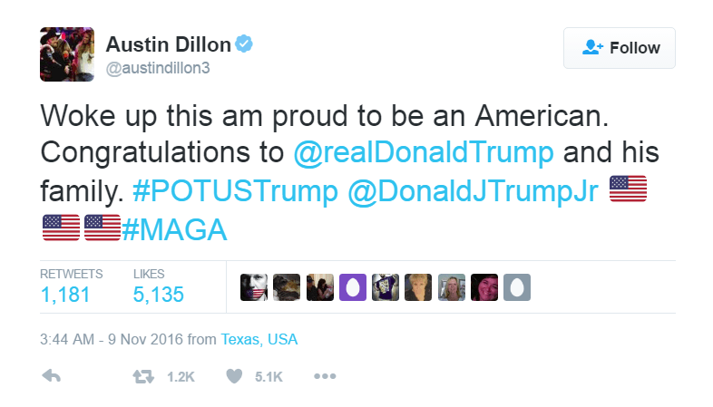 Austin Dillon expressed his joy at Donald Trump's win