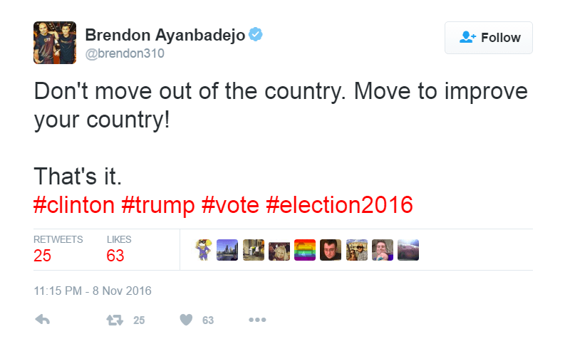 Brendon Ayanbadejo urged people to move for change instead of moving out of the country | @brendon310/Twitter