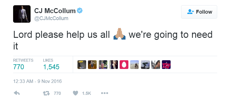 CJ McCollum commented on the 2016 election results on Twitter