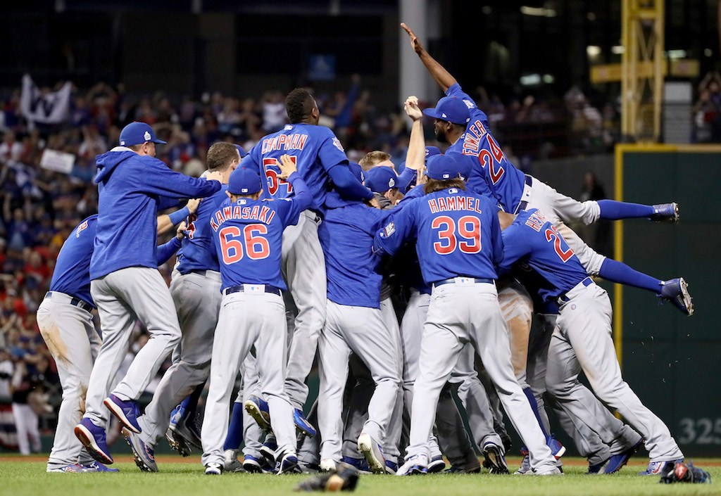 Members of the Chicago Cubs celebrate after winning the 2016 World Series