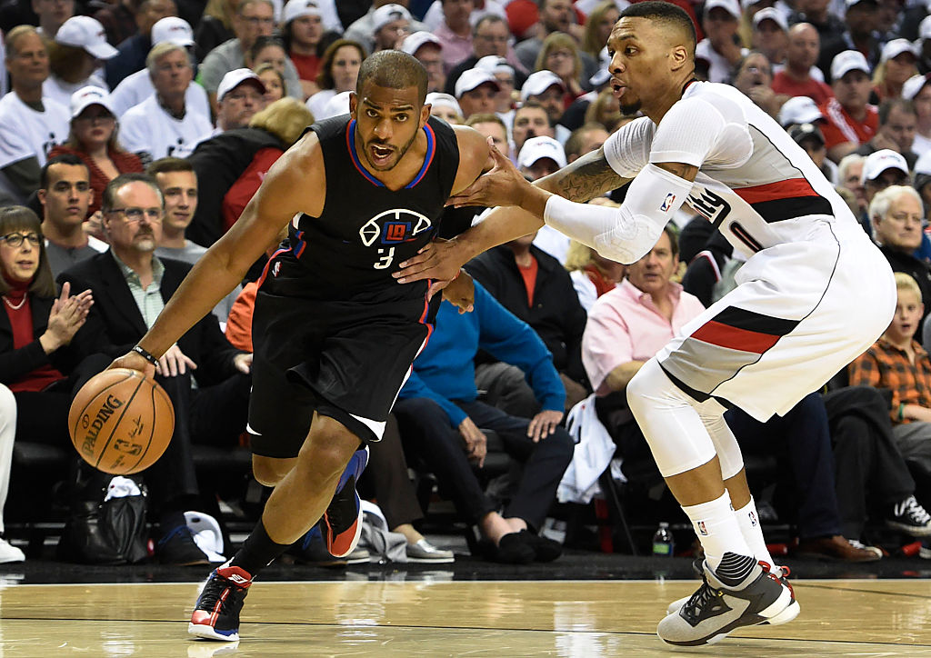 Chris Paul of the Los Angeles Clippers drives to the basket.