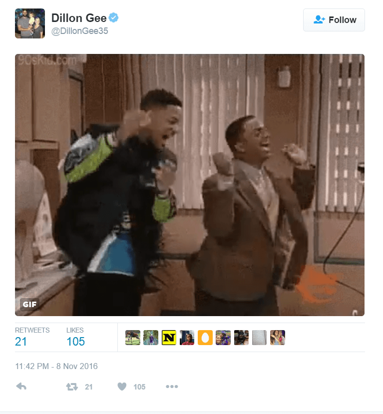 Dillon Gee shared a gif of characters from 'The Fresh Prince of Bel-Air' dancing