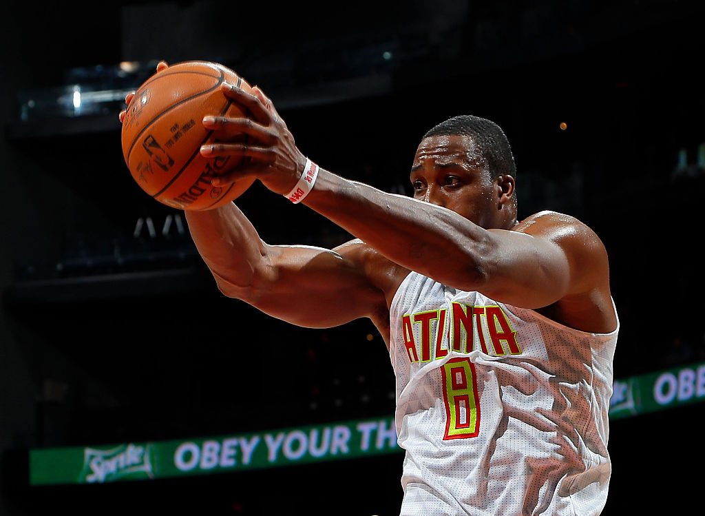 Dwight Howard of the Atlanta Hawks goes up for a dunk.