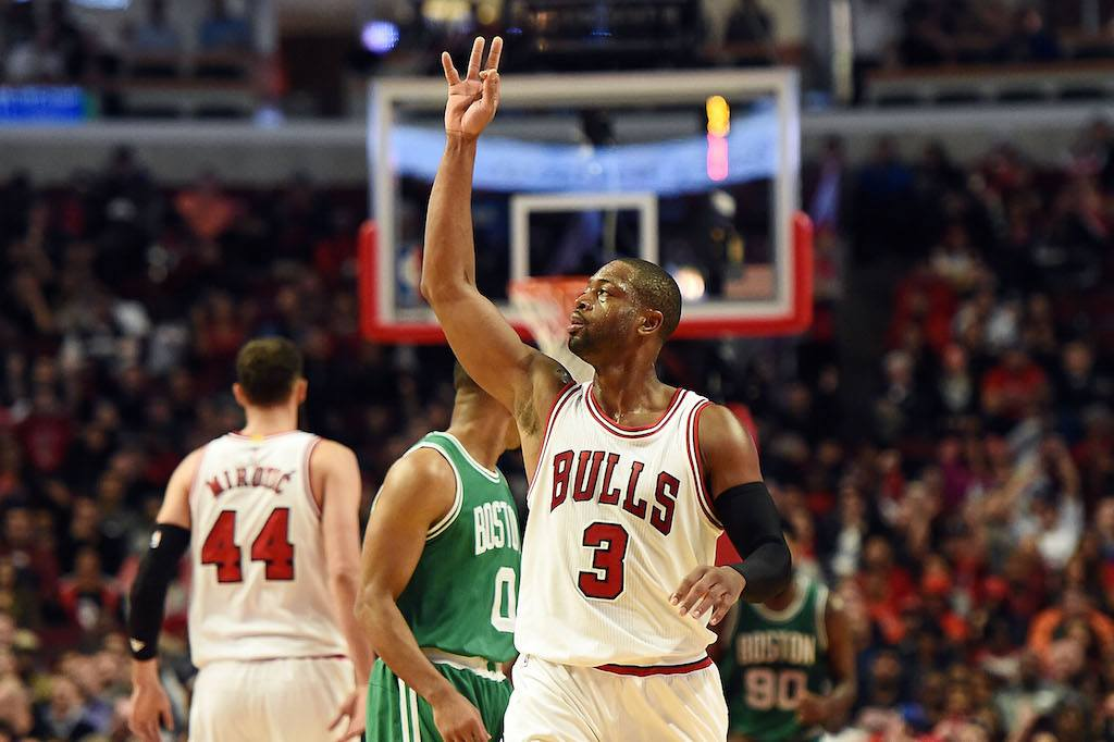 Dwyane Wade is drilling threes in Chicago | Stacy Revere/Getty Images