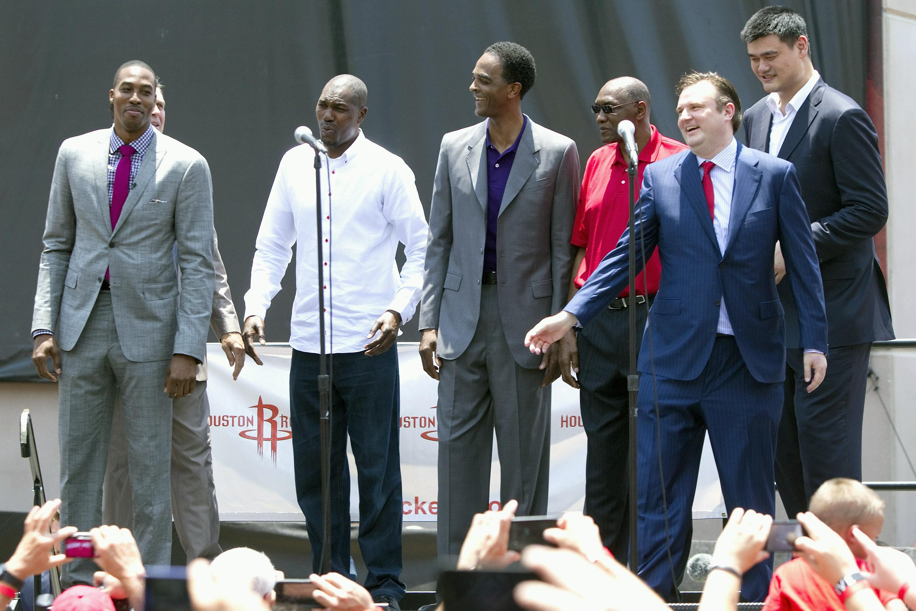 Hakeem Olajuwon, Ralph Sampson, Elvin Hayes, Yao Ming and Houston Rockets general manager Daryl Morey