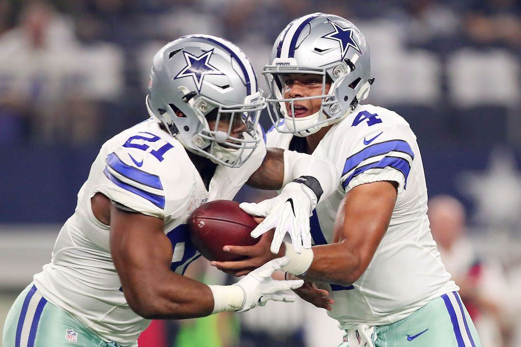The Dallas Cowboys hold tight to the football.