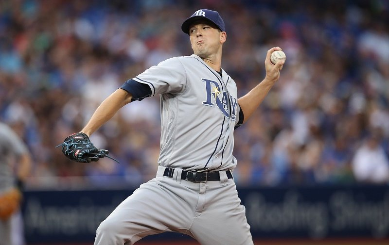 TORONTO, CANADA - AUGUST 9: Drew Smyly #33 of the Tampa Bay Rays delivers a pitch in the second inning during MLB game action against the Toronto Blue Jays on August 9, 2016 at Rogers Centre in Toronto, Ontario, Canada.