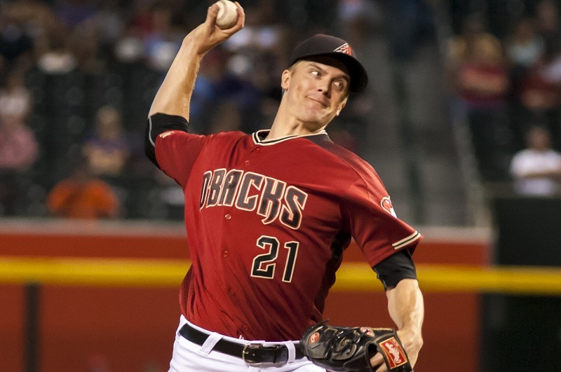 Starting pitcher Zack Greinke winds up to pitch.