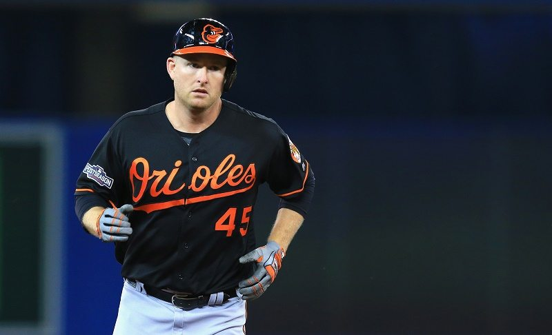 Mark Trumbo of the Baltimore Orioles runs the bases after hitting a two-run home run against the Toronto Blue Jays.