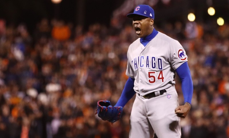 Aroldis Chapman of the Chicago Cubs celebrates after defeating the San Francisco Giants in the 2016 National League Division Series | Ezra Shaw/Getty Images