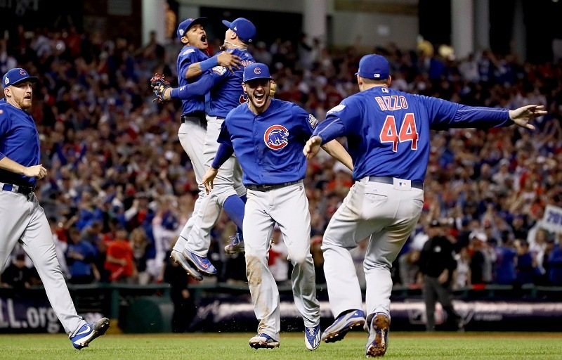 The Chicago Cubs celebrate their World Series win.