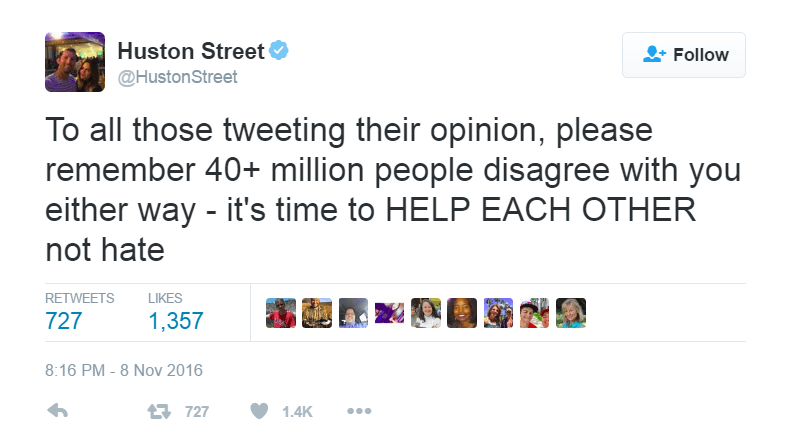 Huston Street reminds people that there are a lot of people who disagree with you no matter what side you are on.