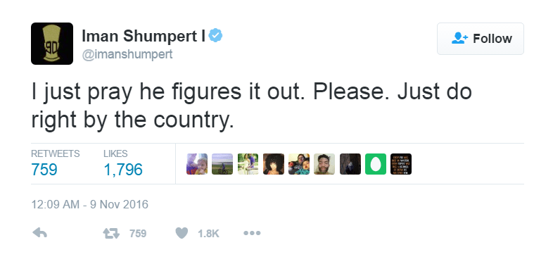 Iman Shumpert comments on the 2016 Presidential Election on Twitter
