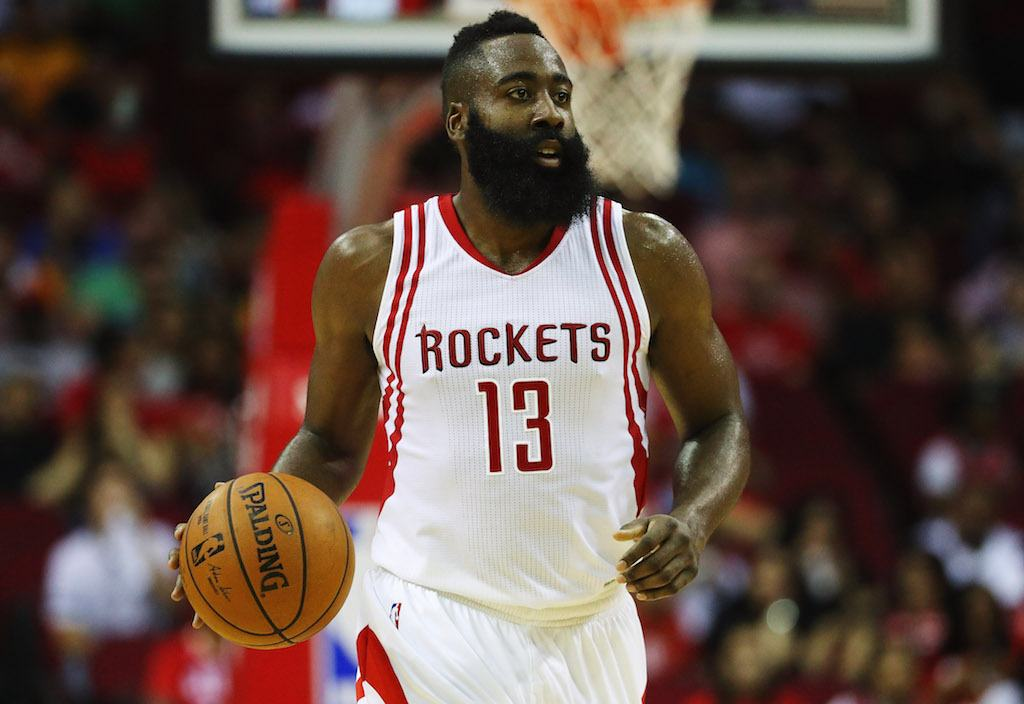 James Harden dribbles down the court.
