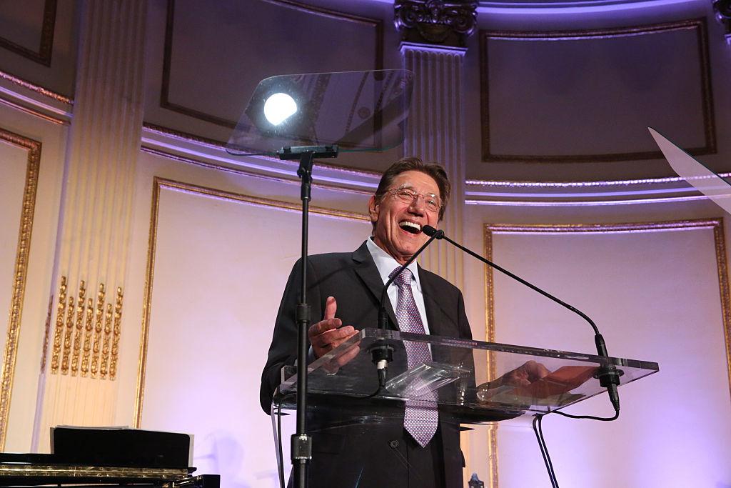 Joe Namath speaks on stage at a Jupiter Medical Center fundraiser event