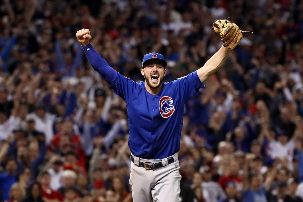 Kris Bryant #17 of the Chicago Cubs celebrates after winning 8-7 in Game Seven of the 2016 World Series at Progressive Field on November 2, 2016 in Cleveland, Ohio.