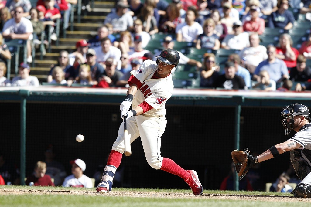 Michael Brantley of the Cleveland Indians bats against the Chicago White Sox