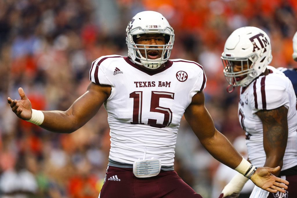 Myles Garrett makes a play for the Aggies.