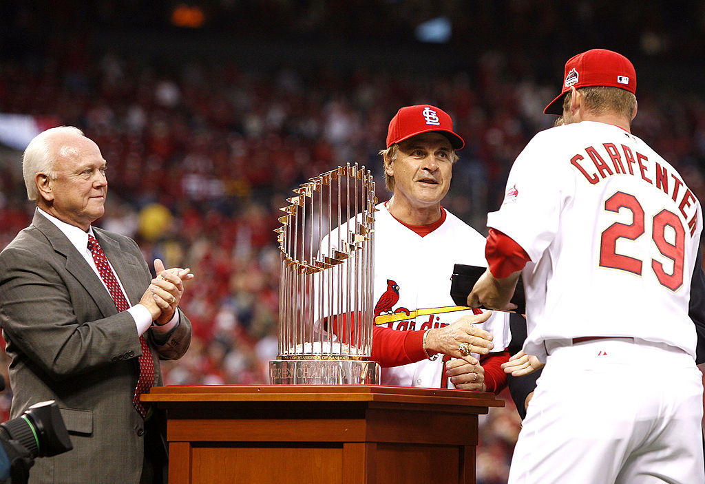 Chris Carpenter #29 of the St. Louis Cardinals is presented with his 2006 World Series Championship ring