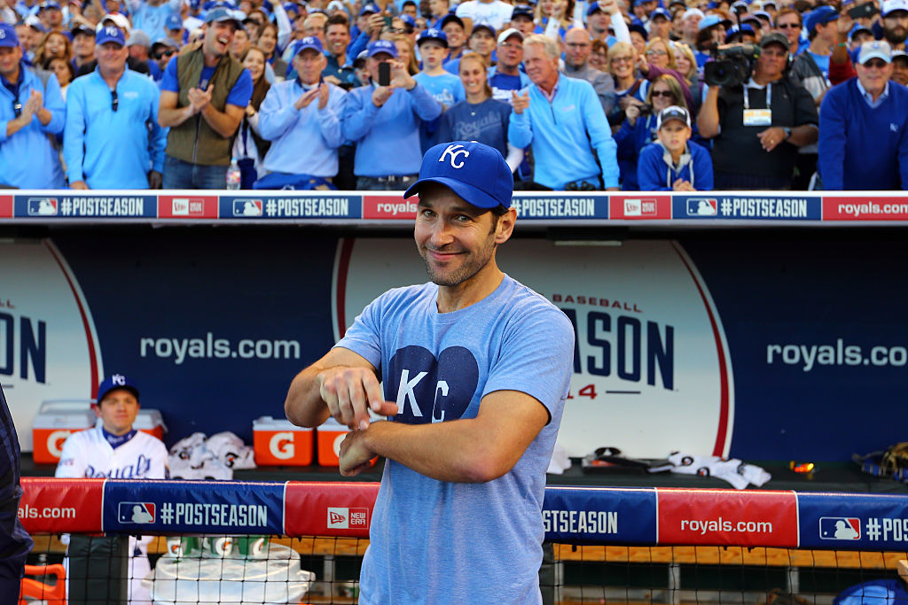 Actor Paul Rudd celebrates the Kansas City Royals' win over the Baltimore Orioles.