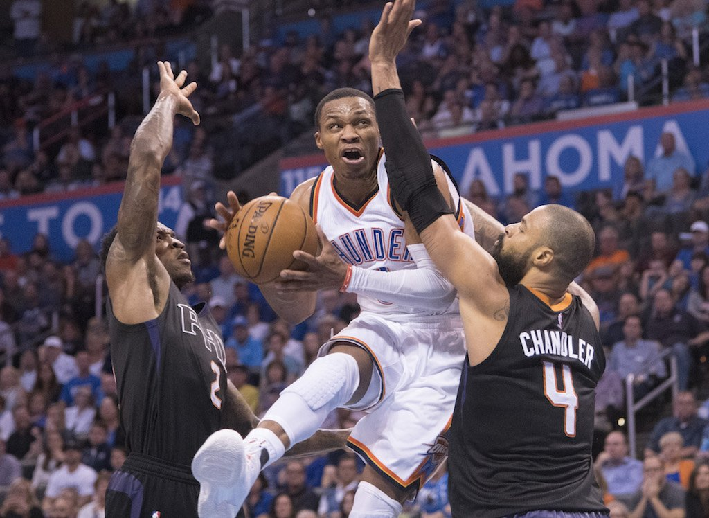Russell Westbrook shows off his jump as he goes up for a layup.