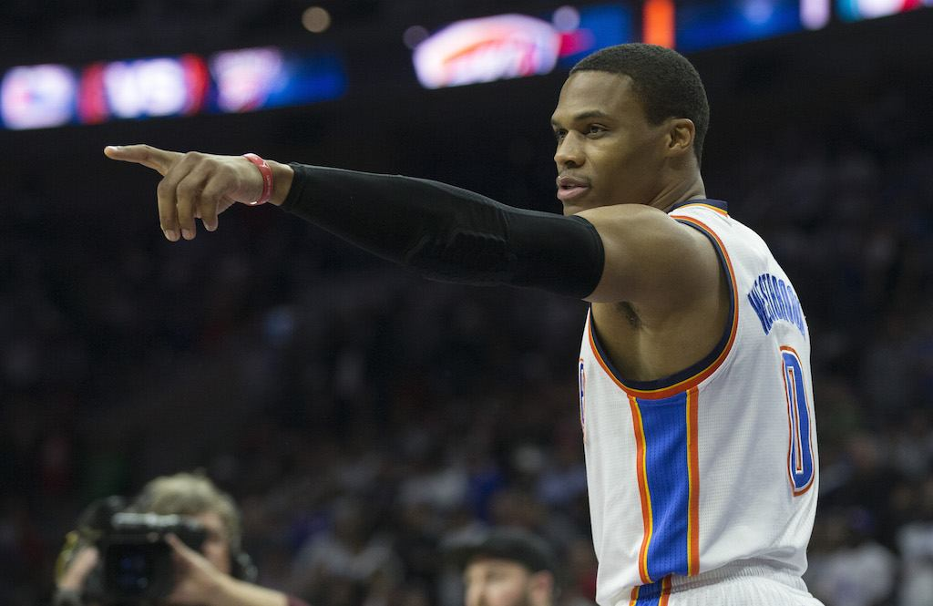 Russell Westbrook points at the competition.