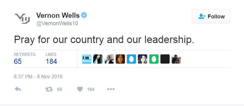 Vernon Wells asked people to pray for the country on Twitter.