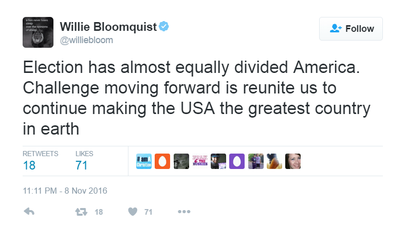 Willie Bloomquist commented on the divide created by the 2016 Presidential Election results