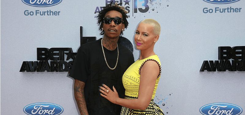 Wiz Khalifa and Amber Rose pose at the 2013 BET Awards.