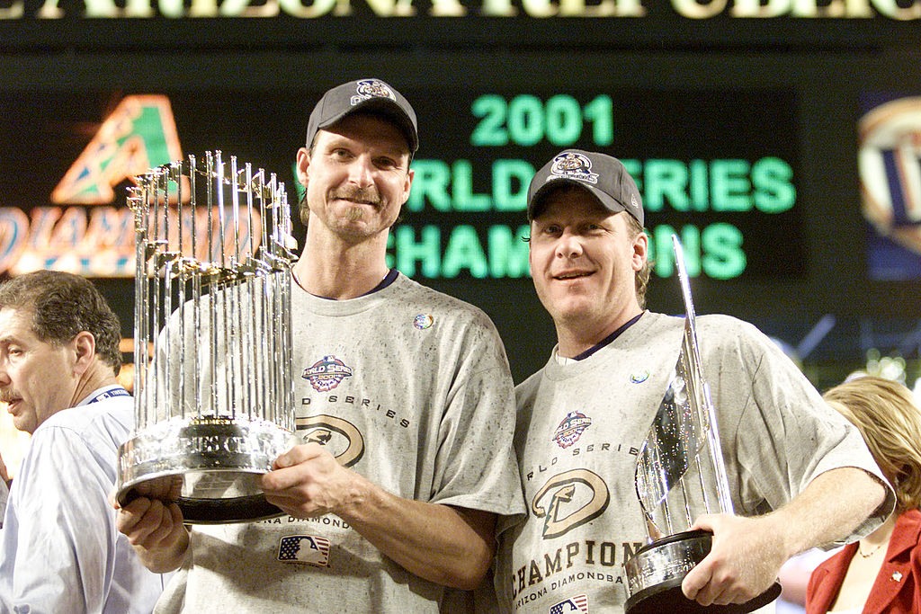 Co-MVP winners Randy Johnson #51 and Curt Schilling #38 of the Arizona Diamondbacks