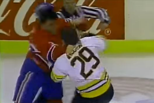 John Kordic and Jay Miller fighting during a 1987 hockey game