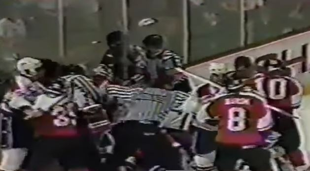 Even the coaches joined in on this 1991 hockey fight between the Washington Capitals and Philadelhpia Flyers