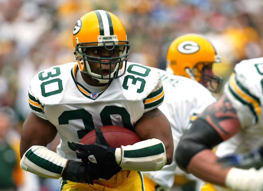 Ahman Green runs with power for the Packers | Donald Miralle/Getty Images