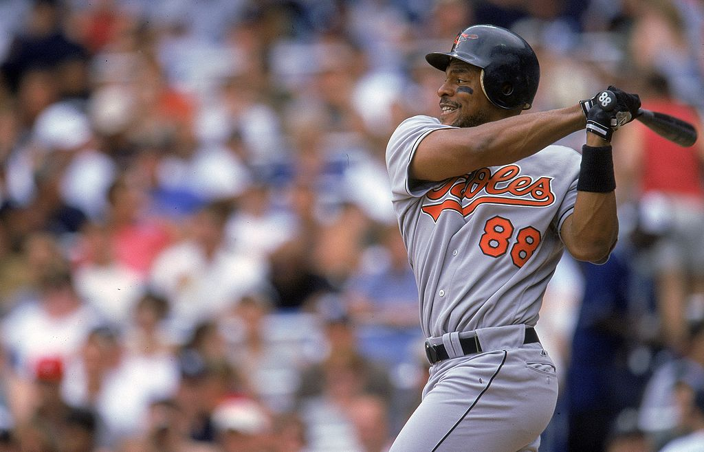 Albert Belle of the Baltimore Orioles