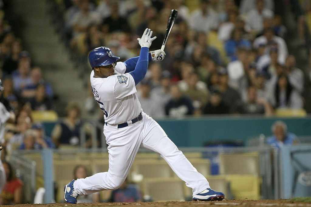 Andruw Jones of the Los Angeles Dodgers up at bat