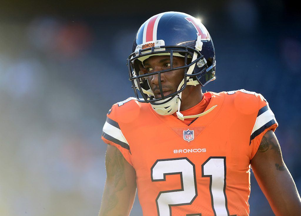 Aqib Talib of the Denver Broncos warms up before a game