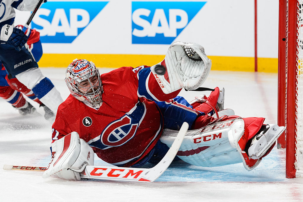 Carey Price of the Montreal Canadiens makes a glove save